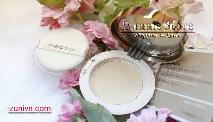 Review phấn The Face Shop Gold Collagen Ampoule Two-way Pact